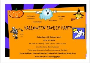 Halloween Party Saturday 27th October 2018