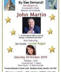 John Martin Comedy Night   Sat 20th October