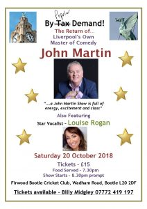 John Martin Comedy Night   Sat 20th October
