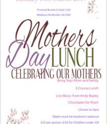 Mothers Day Lunch at Firwood Bootle CC